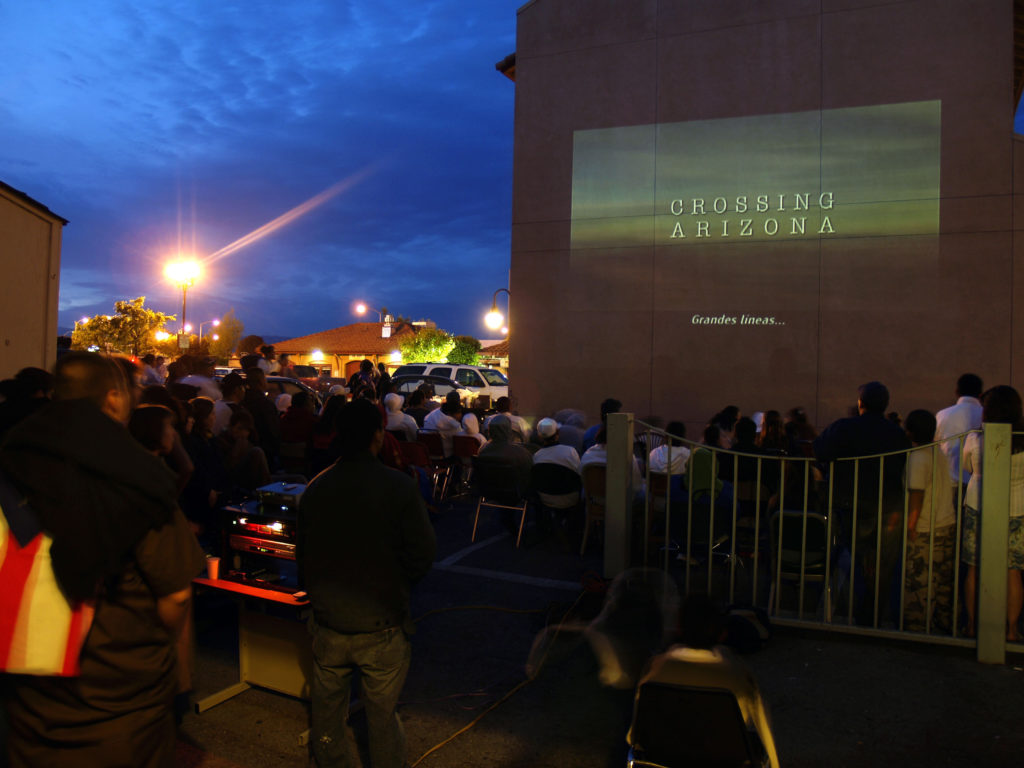 Guerilla Drive-In showing in Watsonville in support of the Watsonville Brown Berets