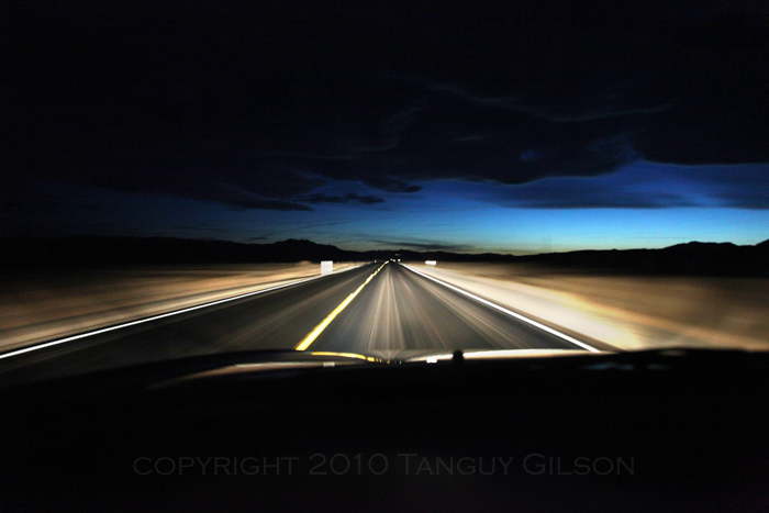 Desert road at night far west usa 2009